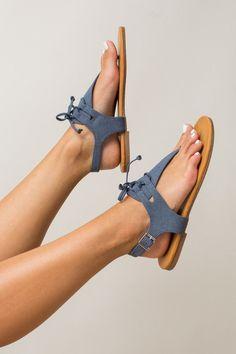 Sailing Ships Sandals in Denim Blue