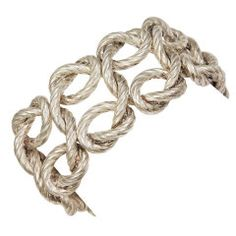 HERMES Wide Silver Rope Bracelet