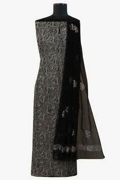 Ada #handembroidered #black  #georgette  #lucknowi #chikankari  Unstitched Suit Piece – A581341