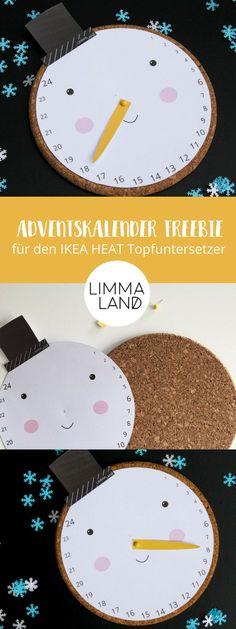 IKEA HACK für Weihnachten: Dieser Countdown macht das Warten auf den Weihnachtsmann für Kinder leichter und bringt Riesenspaß. Kostenlose Druckvorlage auf unserem Blog passend für den IKEA HEAT Untersetzter und damit auch ein toller IKEA HACK zu Weihnachten, den man an Nachbarn / Freunde für die Adventszeit verschenken kann.