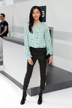 Liu Wen - Chanel SS16 Front Row - October 6, 2015 #ChanelAirlines #PFW