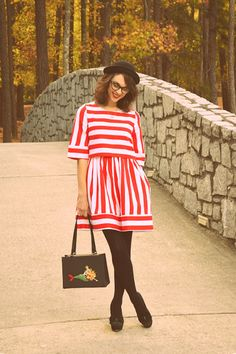 this look from the ModCloth Style Gallery! Cutest community ever. Red And White Dress, Jeans And Sneakers, Fashion Gallery, Black Tights, Minimalist Fashion, Vintage Dresses, Dress Up, Street Style, How To Wear