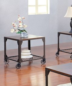 Look what I found on #zulily! Antiqued Oak Benji Fenced Shelf End Table #zulilyfinds
