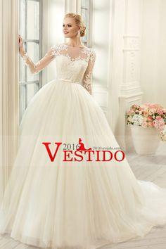 2016 Una línea de vestidos de novia cuchara mangas largas con apliques de tul y faja