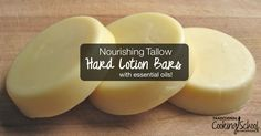 Combat dry hands and skin naturally with the nourishing fats and essential oils in these tallow hard lotion bars. They're super easy to make!