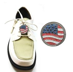Kicks Candy Shoe Ornaments. Magnetic USA Flag Glitzy Ball Marker that can be attached to your golf shoes! Fourth of July ready!