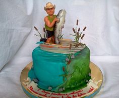 Fish Cake Birthday, Birthday Cakes For Men, Fishing Theme Cake, Cake Cookies, Cupcake Cakes, Fisherman Cake, Happy B Day, Themed Cakes, Eat Cake