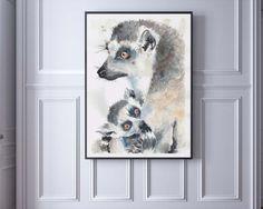 Lemur Catta lémur de cola anillada con por MicromysWatercolor