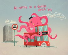 An Octopus on a double decker bus character illustration by Duncan Beedie