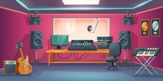 Music studio control room and singer booth Studio Audio, Music Studio Room, Recording Studio, Episode Backgrounds, Space Backgrounds, Bedroom Drawing, Anime Places, Note Doodles, Anime Scenery Wallpaper