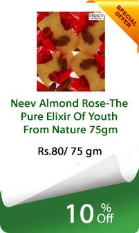 Neev Almond Rose-The Pure Elixir of Youth From Nature 75gm at the best price with us and avail amazing offers. Almond Rose The pure Elixir of Youth from Nature keeps the skin dew fresh and young looking, delays the appearance of wrinkle, blackheads, dryness and even pimple.