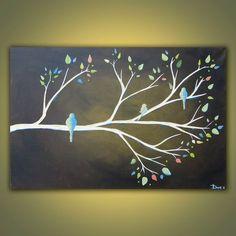 Pintura de acrílico pájaro original rama del por DanlyesPaintings