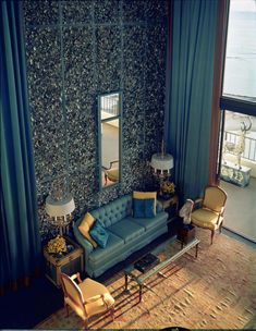 Tony Duquette -   penthouse apartment of the Hilton Lagoon Apartments, the walls are decorated with crushed abalone