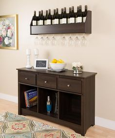 Espresso Floating Wine Rack & Living Room Console Set