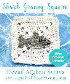 Shark Granny Square | Shark Applique | Free Crochet Pattern | Ocean Afghan Series