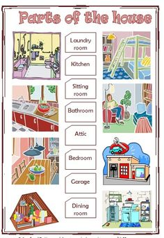 worksheets parts of the house Printable English Worksheets, Worksheets For Kids, English For Beginners, English Activities, First Grade, Grade 1, Paper Houses, English Words, Easy Workouts