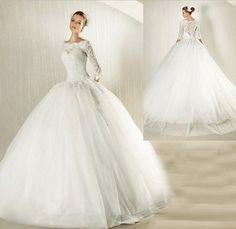 2014 New White/Ivory Lace Wedding Dress TuTu Wedding Gown 3/4 Sleeve Bride square shoulder BallGown