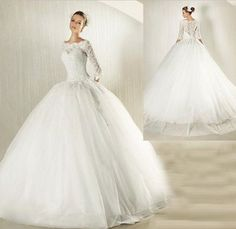 2014 New White/Ivory Lace Wedding Dress TuTu Wedding Gown 3/4 Sleeve Bride square shoulder BallGown