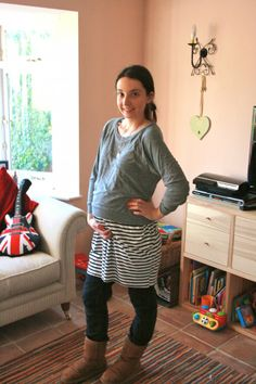 Maternity style - tracktop over dress.