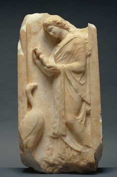Naiskos Grave of a Young Woman Holding a Votive Doll Unknown, Greek, Athens c. 360 B.C. (Getty Villa - Malibu) Dolls and birds were the playthings of girls, and both are shown on this grave marker...