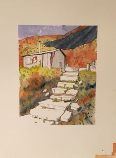 ...and this is the drawing with some abstract watercolour washes added