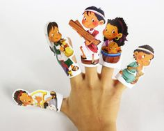 "12 finger puppets that can be used together with the book ""Children of the Bible""."