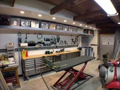 Most Garage Workshop plans are designed as one-story, detached garages. Garage plans with workshops are an ideal solution for those in need of extra parking and room for woodworking, crafts, home improvement projects and the like. Garage Workshop Plans, Garage Plans, Basement Workshop, Man Cave Garage, Garage Tools, Garage Shop, Garage Bar, Car Garage, Scooter Garage