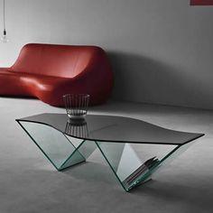 mirage glass low table, design matteo ragni, mirror and alpi wood ... - Glastisch Design Karim Rashid Tonelli