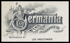 Trade card 1892 -- Germania Fire Insurance Company | Sheaff : ephemera