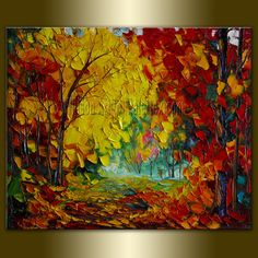 Original Textured Palette Knife Landscape Painting Oil on Canvas Contemporary Modern Art Seasons 20X24 by Willson. $155,00, via Etsy.