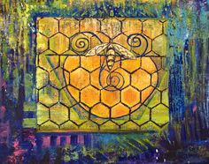Golden Bee Light - A Light in the Darkness by PaintingsJudithShaw on Etsy - prints start at $25