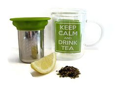 "Glass Tea Mug with Stainless Steel Tea Infuser - Tea Strainer - Tea Steeper - ""Keep Calm and Drink Tea"" Nicely Gift Boxed"