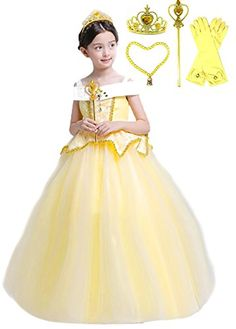 Hair Braid Fedio Girls Princess Dress up Accessories 4 Pieces Gift Set Princess Gloves Tiara Crown and Wand for Kids Yellow