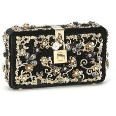 Dolce & Gabbana Embellished Velvet Clutch (170,570 PHP) ❤ liked on Polyvore featuring bags, handbags, clutches, apparel & accessories, black, hand bags, dolce gabbana purse, flower print purse, flower print handbags and embellished purses