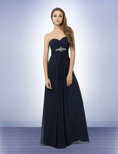 Chiffon strapless sweetheart neckline gown with soft pleats. Rhinestones and beads adorn the empire with a center floral design. Inverted pleats adorn the front and back of the gown. Style 779