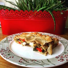 Red and yellow pepper pie