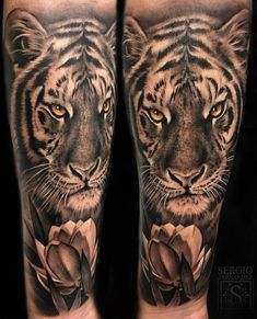 Realistic Tiger Tattoos on Forearm - Tattoo MAG Tiger Forearm Tattoo, Tiger Tattoo Sleeve, Tiger Tattoo Design, Tattoo Henna, Lion Tattoo, Sleeve Tattoos, Realistic Tattoo Sleeve, Forearm Tattoo Design, Samoan Tattoo