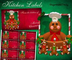 "Gingerbread Man ""Little Gingerbread Men"" Kitchen Labels - Digital Downlaod by DinkyPrints"