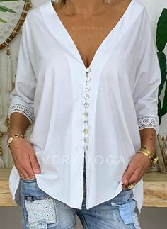 Button Up Casual Solid Lace Sleeves Polyester V-Neck Blouses, veryvoga Casual Tops For Women, Blouses For Women, Top Online Clothing Stores, Blouse Outfit, Mode Outfits, Shirt Blouses, Blouse Designs, Casual Shirts, Casual Sweaters