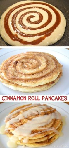 Cinnamon Roll Pancakes Recipe -- Quick, fast and easy breakfast recipe ideas for a crowd (brunches and potlucks)! Some of these are make ahead, some are healthy, and some are simply amazing! Everything from eggs to crockpot casseroles! Your mornings just got a little better. Listotic.com