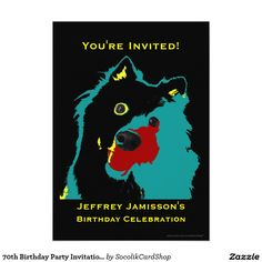 Birthday Party Invitation Teal Dog - A colorful teal Japanese Spitz dog on a black background decorates this unique and fun Birthday Celebration Invitation. The reverse has black lettering on a bright teal background. You can easily change the name, age, event, date, etc. Dog lovers will adore it! Original photograph/artwork by Marcia Socolik. All Rights Reserved © 2015 Alan & Marcia Socolik.