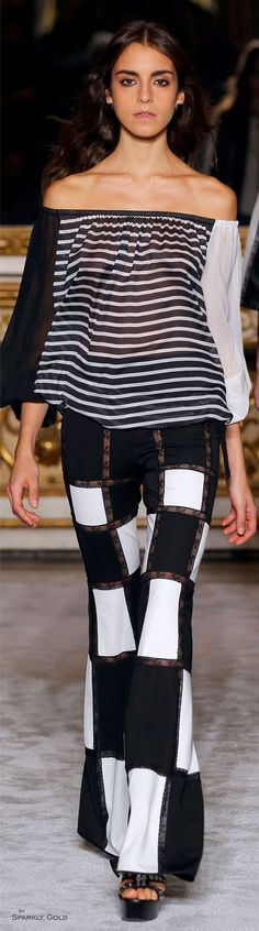 Roccobarocco S-16 RTW, black & white: striped off the shoulder blouse w/ flared pants.