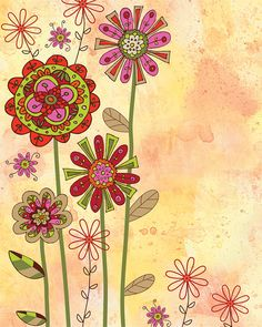 Orange Flower Watercolor Art by Lori Siebert, Whimsical, Colorful, Mixed Media, Bohemian,Lori Seibert