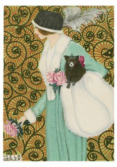 Mela Koehler (Austrian, Vienna 1885–1960 Stockholm).  Mela Koehler created about 150 fashion postcards for the Wiener Werkstãtte. True to Wiener Werkstãtte ideals, Koehler's postcards were not advertisements for clothes but drawings of fantasy outfits intended to inspire women to experiment with their attire.