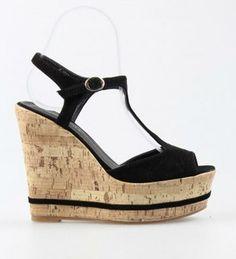 Zeppe scarpe sandali estate mare donna sughero nere camoscio 39 40 taccoalto 26,00 Eur http://www.marketitaliano.it/?df=181431164084