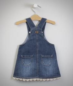 Denim Baby Girl Dress Patterns, Little Girl Dresses, Denim Fashion, Kids Fashion, Kids Dress Wear, Lace Jeans, Jumper Outfit, Baby Coat, Kids Suits