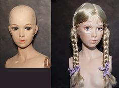 Restored 60's child mannequin before & after
