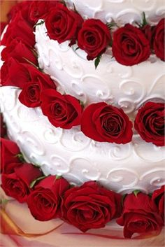 Decorated with deep red roses.