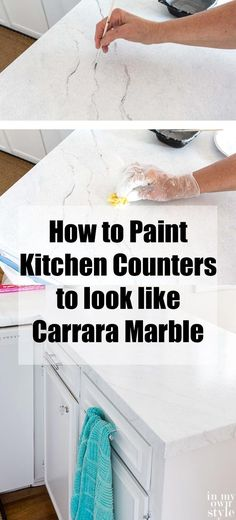 12 DIY countertops blowing your mind Kitchen countertop painting to look like white Carrara marble. Countertop Concrete, Outdoor Kitchen Countertops, Painting Countertops, Kitchen Countertop Materials, White Countertops, Bathroom Countertops, Resin Countertops, Kitchen Backsplash, Painting Kitchen Cabinets White