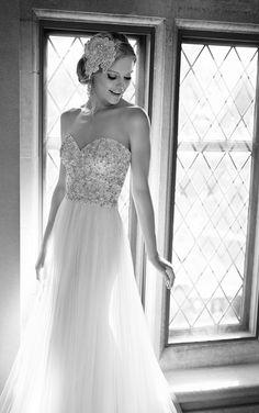 Parisian Silk Chiffon sheath dress from the Martina Liana wedding dress collection features hand-sewn Diamante beading on the sweetheart bodice, a Tulle skirt and sweep train. #MartinaLiana #WeddingDress